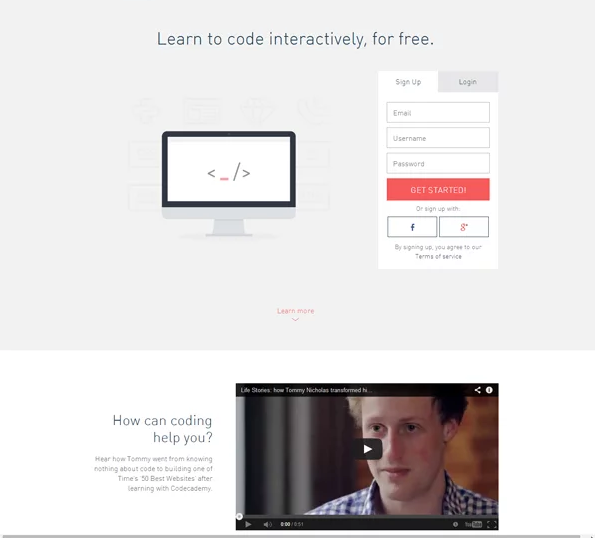 esempio landing page perfetta code